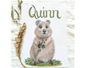 Custom Quokka Nursery Print -  Personalised Quokka - Child's Wall Art - Australian Animals - Australian Nursery Decor- A4