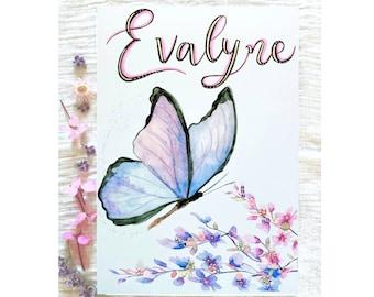 Custom Butterfly Print, Personalised Butterfly, Butterfly Nursery Art, Butterfly Wall Art, Baby Girl Nursery, Girls Room, Butterfly Keepsake