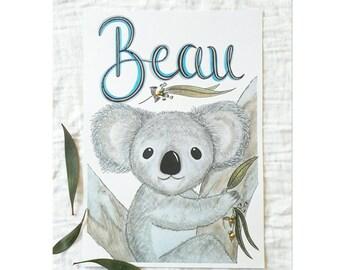 Custom Koala Name Print, Australian Nursery Art, Koala Nursery Wall Art, Boys Room Print, Koala Wall Art, Personalised
