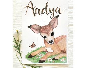 Baby Deer Custom Name Print, Baby Deer Print,  Woodland Nursery Print, Persinalised, Girls Room Decor,  Woodland animals