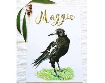 Custom  Magpie Print, Personalised Magpie Print, Magpie Art Print, Personalised Name Print, Magpie Decor, Custom Name Print
