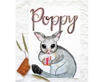 Personalised Nursery Print Australian Possum - Custom Baby Name Print - Baby Girl Nursery - Girls Room Decor Australian Animals - A4 Print