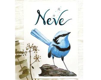 Custom Blue Wren Print, Blue Fairy Wren, Personalised Wren, Australian Birds, Nursery Decor, Gender-Neutral Nursery, Unisex Nursery