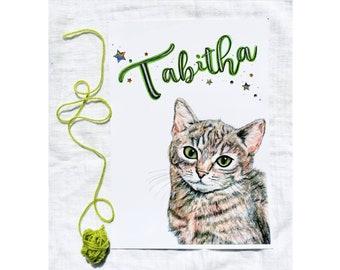 Custom Cat Print, Personalised Cat Print, Cat Name Print, Kids Wall Art