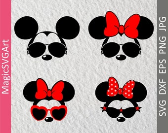 Minnie Svg, Mickey Svg, Mouse face Svg, Mickey Ears Svg, Mouse glasses svg, Cricut Cut Files, Minnie Svg Files, Dxf, Png, Eps, glasses svg