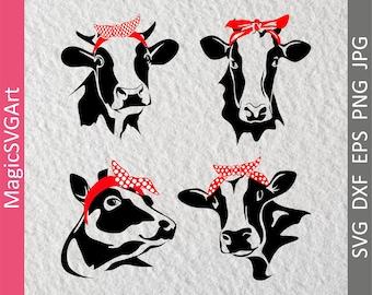 Bandana heifer cow bundle svg, dxf, eps, png, jpg