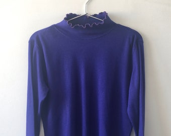 Ultramarine / Purple Blue Turtleneck Ribbed LongSleeve Top with Wave Edge Collar