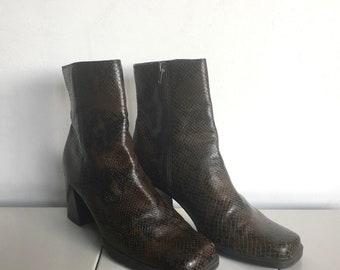 Brown Leather Snakeskin Texture Chunky Heel Boots