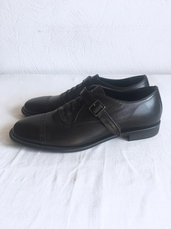 YOHJI YAMAMOTO Black Leather Derby Shoes