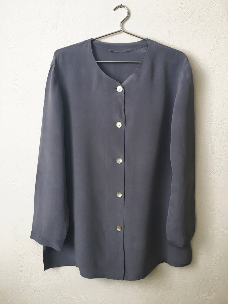 e052663722343 Silk Button Up Blouse - Stormy Blue