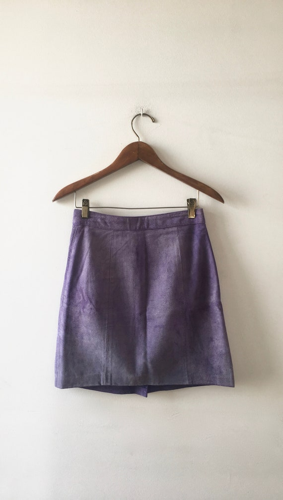 90's Lavender Suede Mini Skirt