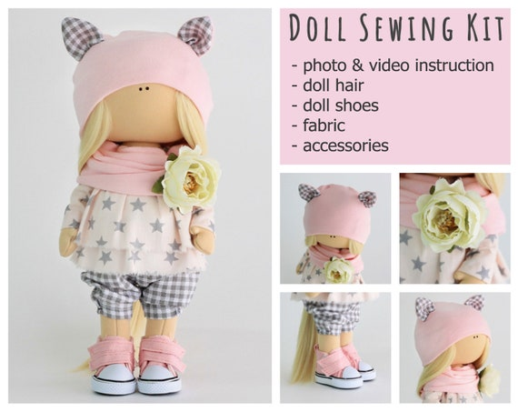 Sewing kit doll  Craft My First Sewing Kit Pattern Textile doll Fabric doll  Fashion Doll DIY Set for creativity  tilda   a set of tissues