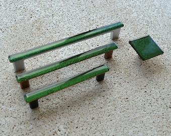 Modern Rustic Green Fused Glass Pull. Dark Green Glass Pull. Rustic Green Cabinet Handle. Rustic Green Fused Glass Cabinet Pull.  0009