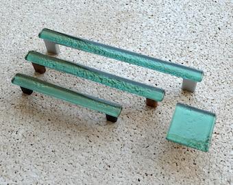 Modern Mint Green Fused Glass Pull. Mint Green Glass Pull. Mint Green Cabinet Handle. Mint Green Fused Glass Cabinet Pull.  0002