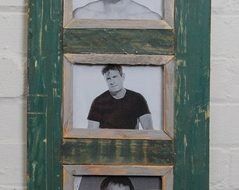 Triple Distressed Up-cycled Picture / Photo Frame Dark Bottle Green with Grey / Natural Wood Inner Frame Holds 3 Pictures