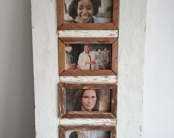 Quad Distressed Up-cycled Picture / Photo Frame Off White and Natural Wood Inner Frame Holds 4 Pictures