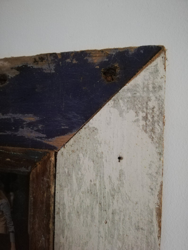 Quad Distressed Up-cycled Picture  Photo Frame Off White and Deep Purple with Natural Wood Inner Frame Holds 4 Pictures