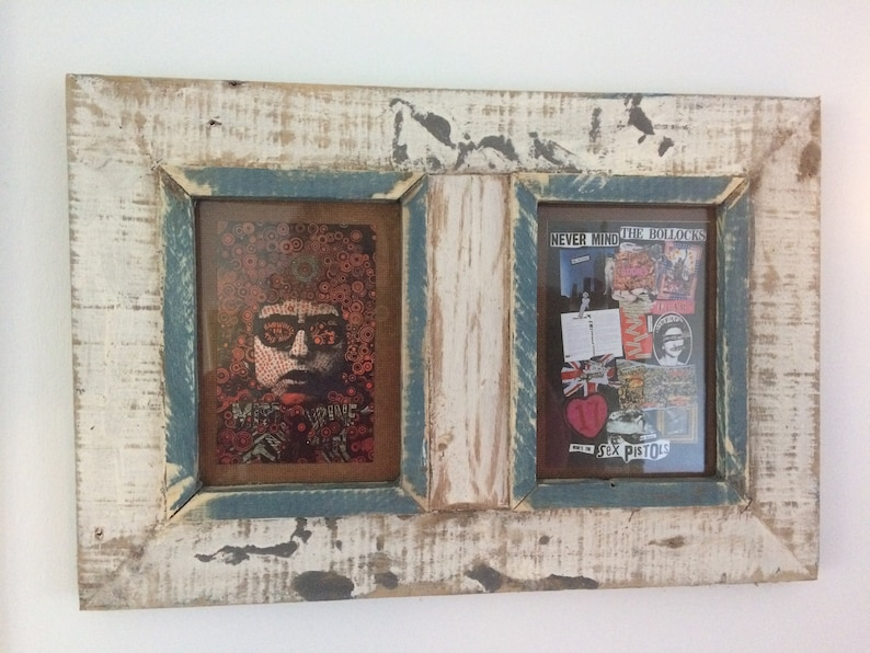 Double Distressed Up-cycled Picture  Photo Frame Off White with Muted Blue featuring 1970s Album Covers
