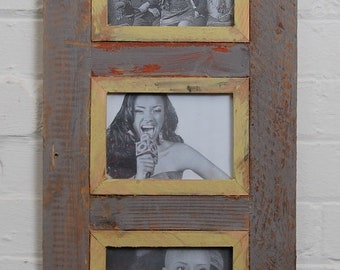Triple Distressed Up-cycled Picture / Photo Frame Mauve with Off White  / light Green and Natural Wood Frame Holds 3 Pictures