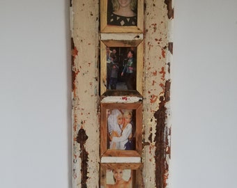 Quad Distressed Up-cycled Picture / Photo Frame Deep Cream Latte with Natural Wood and White Light Inner Frame Holds 4 Pictures