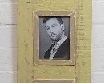 Triple Distressed Up-cycled Picture / Photo Frame Light Green with Grey / Natural Wood Inner Frame Holds 3 Pictures