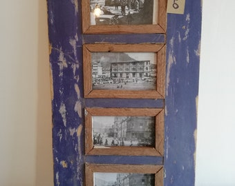 Quad Distressed Up-cycled Picture / Photo Frame Deep Purple with Natural Wood Inner Frame Holds 4 Pictures