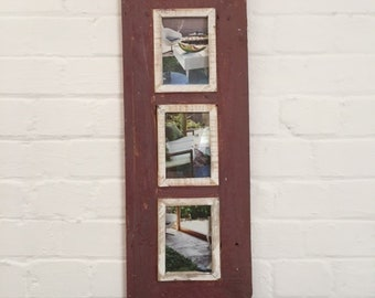 Triple Distressed Up-cycled Picture / Photo Frame Deep Rose with Off White and Natural Wood Inner Frame