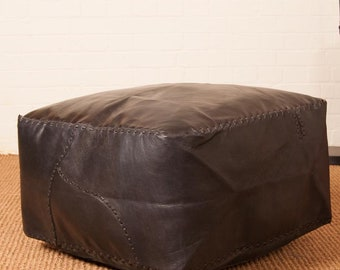 Footstool Pouffe Large Square 'Mesa' Genuine Brazilian Ox-Hide Leather Original Traditional Detailed Stitching Dark Brown