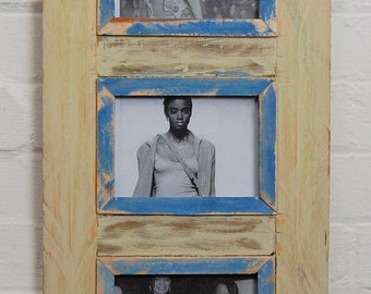 Triple Distressed Up-cycled Picture / Photo Frame Light Green with Blue / Natural Wood Inner Frame Holds 3 Pictures