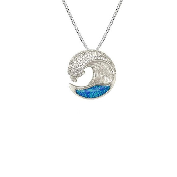 925 Sterling Silver Rhodium Plated Blue Opal Wave Pendant