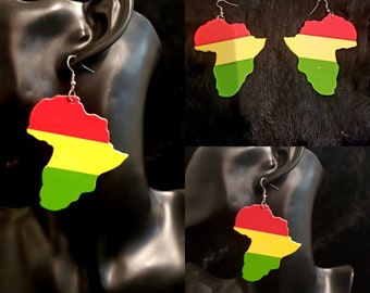 Red, Gold & Green Wooden Africa Earrings
