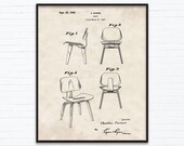 Charles Eames Chair Patent Drawings-September Birthday Gift Ideas - Printable Posters of 4 Styles, INSTANT DOWNLOAD - 09 20 1949