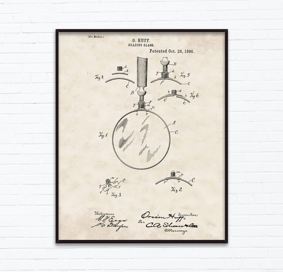 Reading Glasses Patent Drawings October Birthday Gift Ideas Etsy