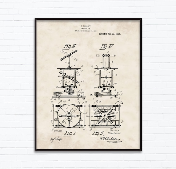 Theodolite Patent Drawings January Birthday Gift Ideas Etsy