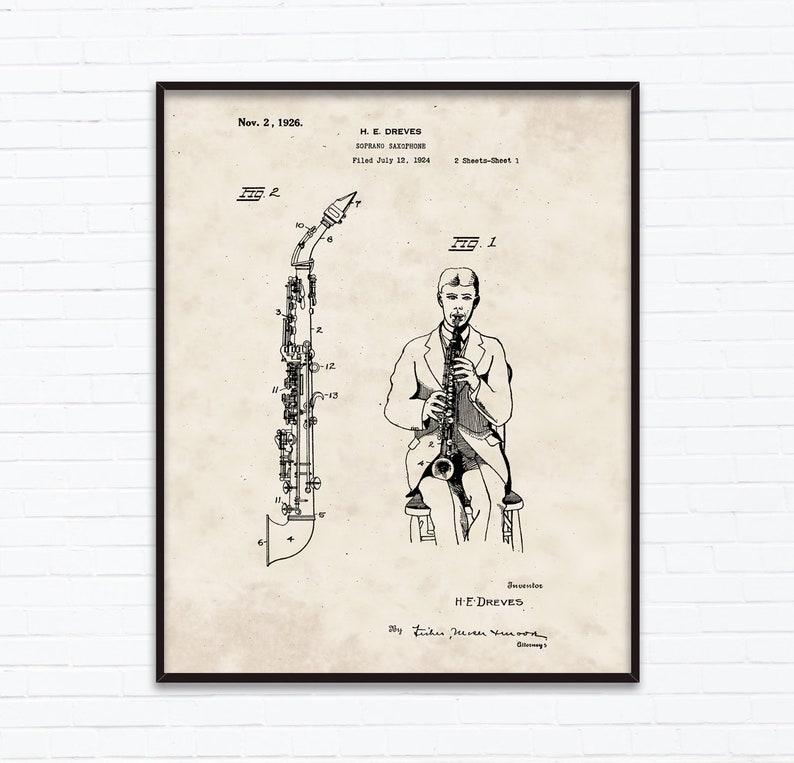 Saksofon Rysunki Patentowe Listopad Pomysły Na Urodziny Etsy