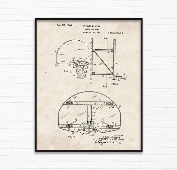 Koszykówka Cel Rysunki Patentowe Listopad Urodziny Prezent Etsy
