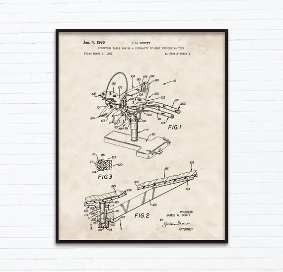 Operating Table Patent Drawings January Birthday Gift Ideas Etsy