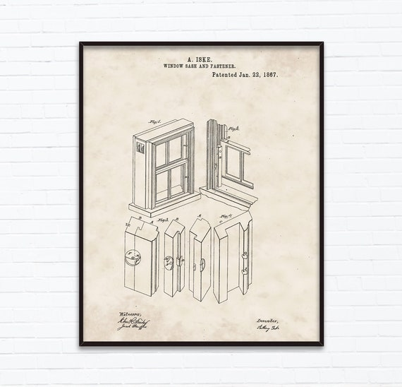 Window Sash Patent Drawings - January Birthday Gift Ideas - Printable  Posters of 4 Styles, INSTANT DOWNLOAD - 01/22/1867