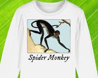 Kids' Monkey Long Sleeved T-shirt, organic shirt, animal shirt, spider monkey top, child's t-shirt, kid's long-sleeve top, free UK shipping