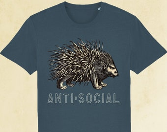 Men's Anti-social Porcupine T-shirt, organic t-shirt, student t-shirt, eco-friendly, teenager gift, back to college gift, free UK delivery