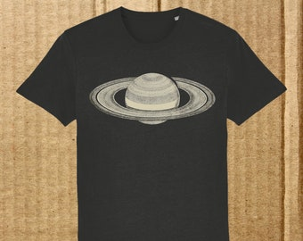 Saturn T-shirt, men's organic t-shirt, astronomy t-shirt, space t-shirt, science t-shirt, teacher gift, student gift, free UK delivery
