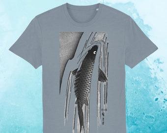 SALE! Men's Fish T-shirt, organic t-shirt, swimming carp t-shirt, Japanese print, fair wear, eco-friendly, free UK delivery