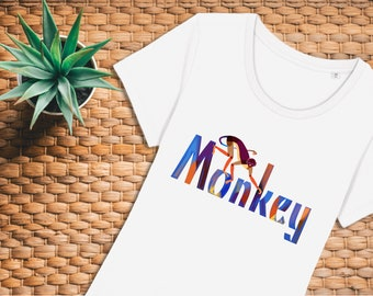 Women's Spider Monkey T-shirt, organic t-shirt, jungle t-shirt, zoology t-shirt, white t-shirt, vegan ink, free UK delivery