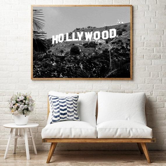 Hollywood Wall Art Black Wall Art Hollywood Print Hollywood | Etsy