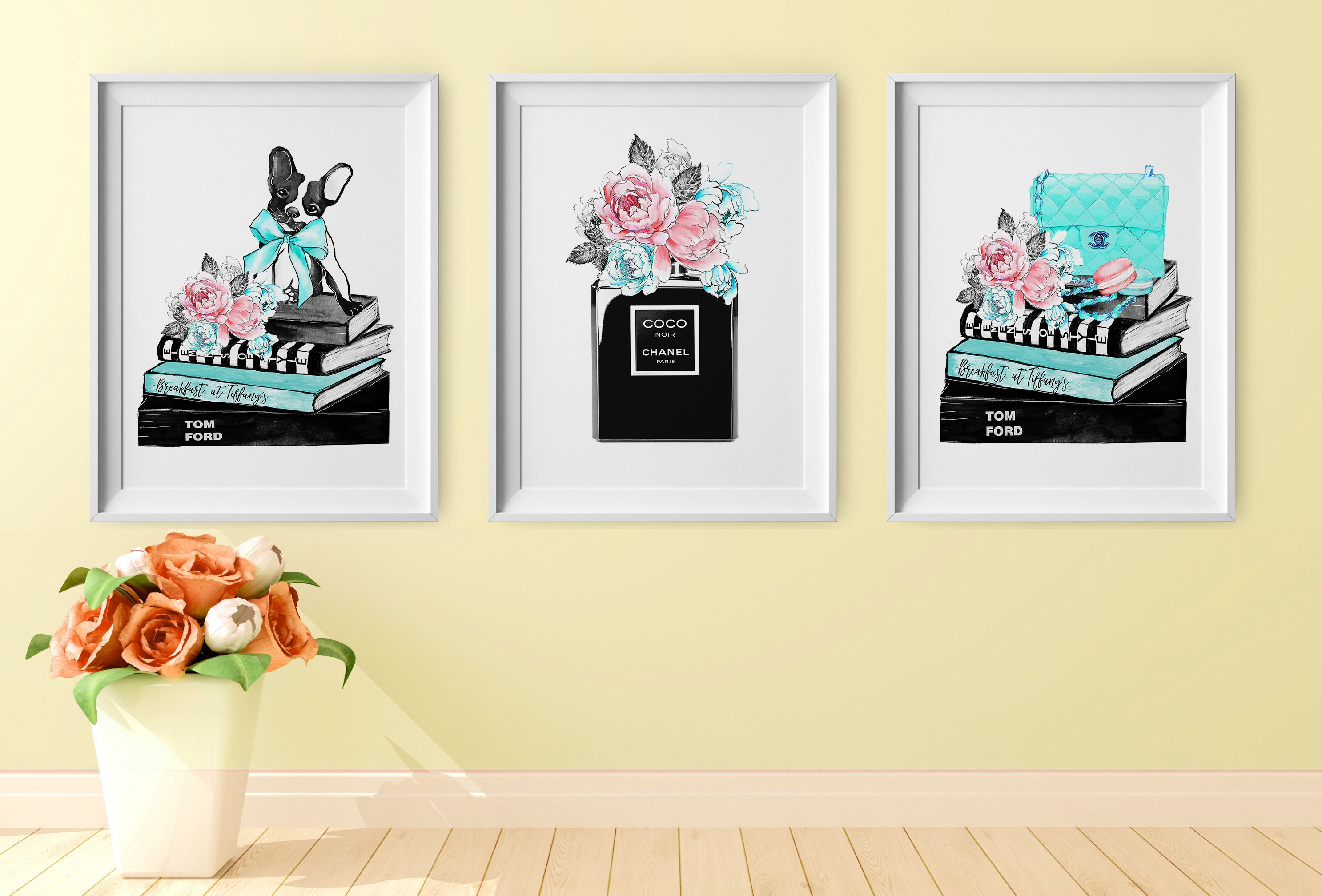 Set of 3 Print Fashion Prints Chanel Prints Tifffany Wall Art