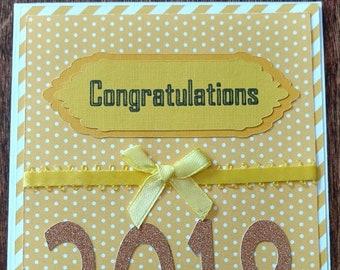 Graduation Card, Congratulations, Gold Sparkles, Yellow