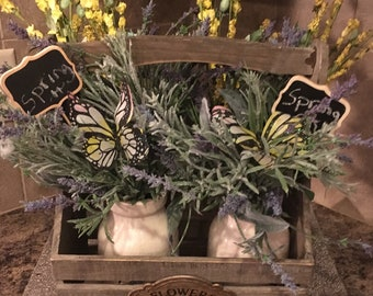 Spring farm floral bouquet in milk crate/Mother's Day Gift