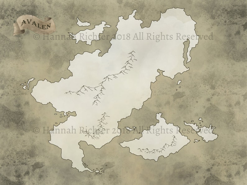 Avalen Printable Antique Fantasy World Map D D Pathfinder Etsy