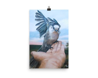"MHew Art Print Poster ""Departure"" Drawing of Bird Flying From Hand"