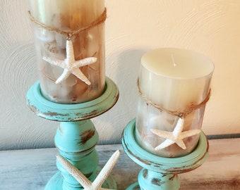 Coastal turquoise wooden candle sticks
